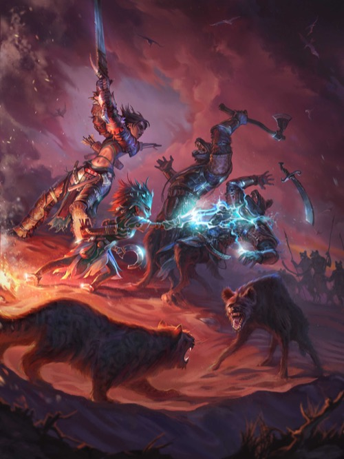 Digital artwork: Desert, under a sky filled with blood-red clouds. Amiri battles an axe-wielding gnoll, while beside her Linni strikes another gnoll with a crackling web of lightning, causing him to drop his scimitar. In the foreground, Linni's snow leopard Droogami faces off against a snarling hyena.