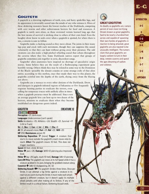 Pathfinder Bestiary Entry for the Gogiteth, featuring an illustration of the Gogiteth tearing apart its prey.