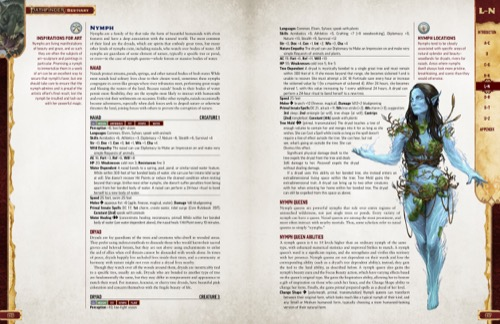 Pathfinder Bestiary Entries for various types of Nymphs, including the Naiad and Dryad. Featuring an illustration of the Naiad.