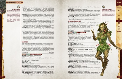 Pathfinder Bestiary Entries for various types of Nymphs, including the Naiad Queen and Dryad Queen. Featuring an illustrations of the Dryad Queen.