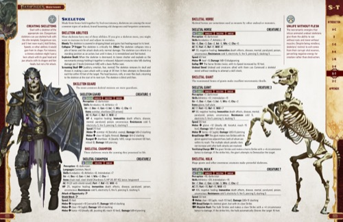 Pathfinder Bestiary Entries for various types of Skeletons, including the Skeleton Guard, Skeletal Champion, Skeletal Horse, Skeletal Giant and Skeletal Hulk. Featuring illustrations of the Skeletal Champion and Skeletal Horse.