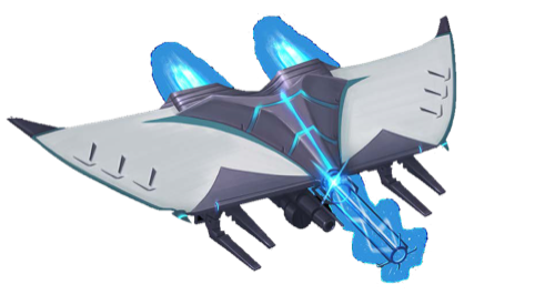 A sleek hunter-class security robot with black and white wings prepares to unleash a blast of blue energy.