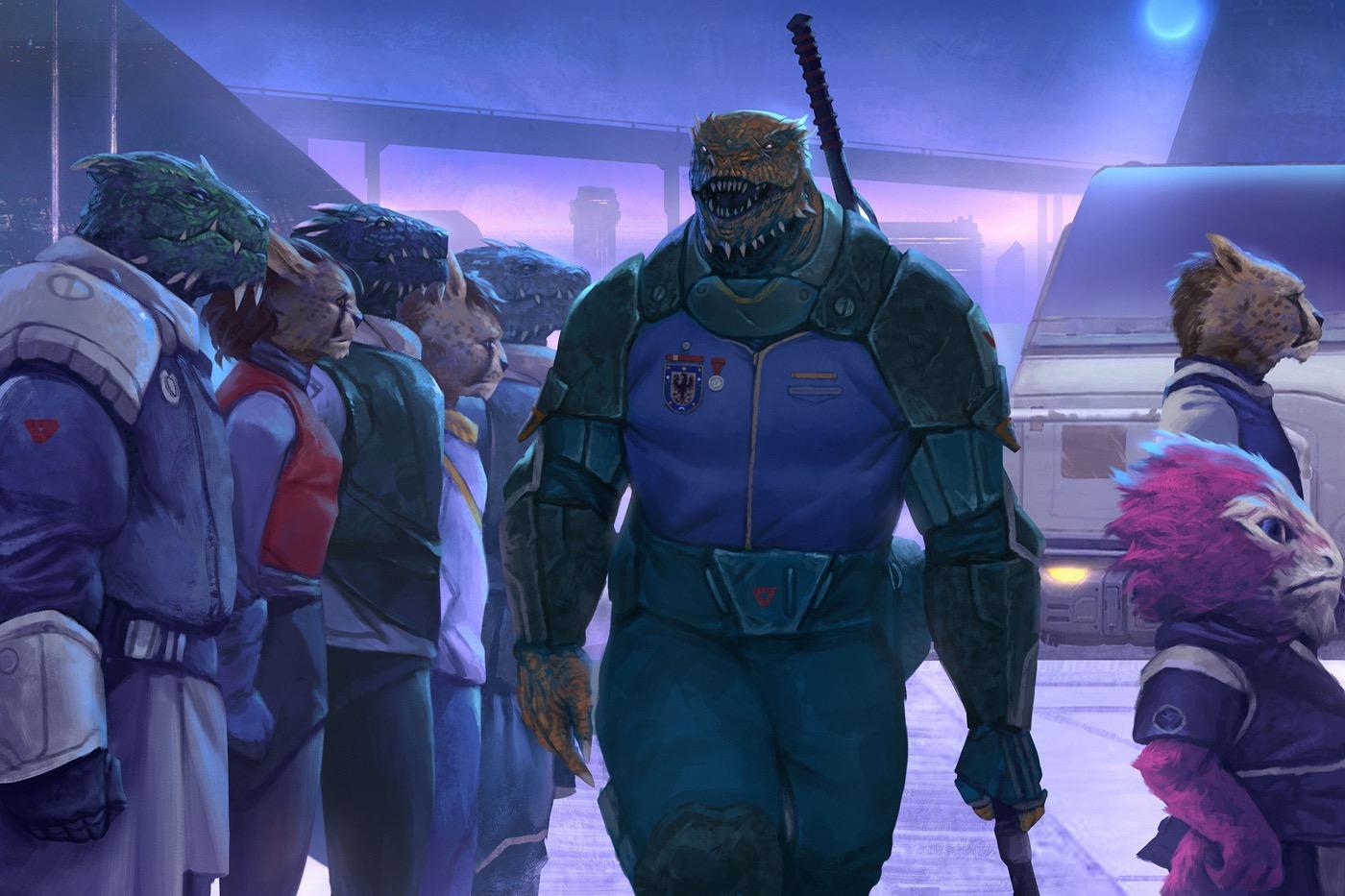 A vesk recruiter and alien recruits