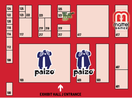 An overhead map of Exhibit Hall J, where Paizo's 2019 Gen Con booth is located.