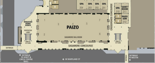 An overhead map of the Sagamore Ballroom, Paizo's 2019 organized play headquarters.