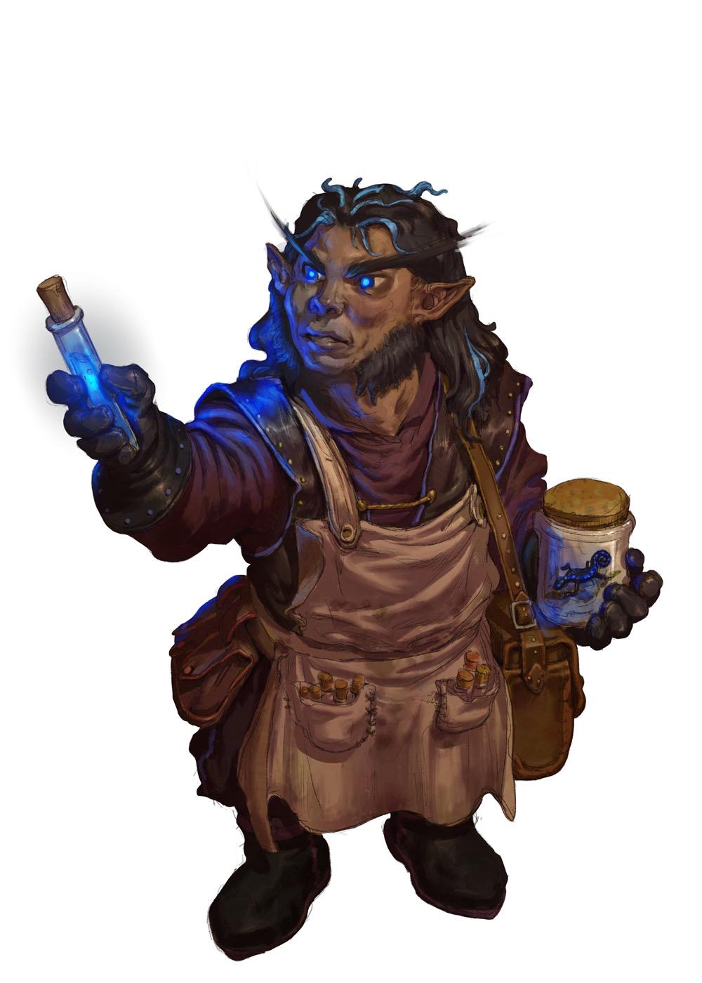 Khismar Crookchar, gnome alchemist and drug dealer.