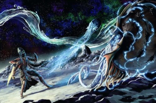 Altronus, a four-armed kasatha wielding a blade of light in one hand and brandishing a pistol with another, stands his ground before a pair of enormous tentacled creatures hovering in mid-air and crackling with blue lightning.
