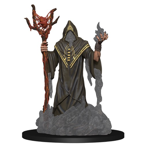 A faceless, robed humanoid figure, gray ash pouring from his sleeves and cowl, wields a staff covered with spidery red veins and capped with what appears to be a human heart.