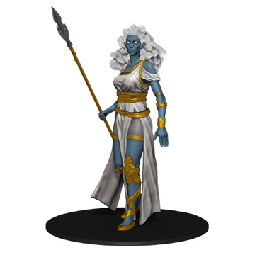 A white-haired, blue-skinned Cloud Giant stands at attention, a long spear in her right hand.