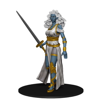 A white-haired, blue-skinned Cloud Giant stands at attention, a greatsword in her right hand.