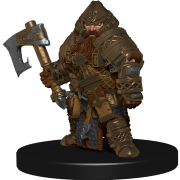 A heavily armored Dwarf Champion wields an axe in his right hand.