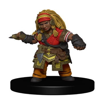 A Dwarf Rogue brandishes a fist dagger in her right hand.