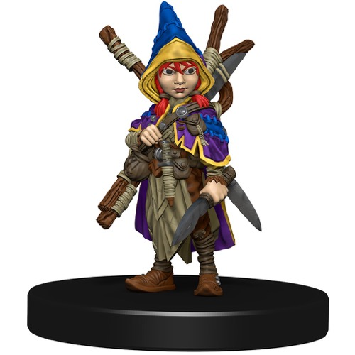 A dagger-wielding Gnome Rogue in a colorful traveling outfit with a number of staves crossed on her back.