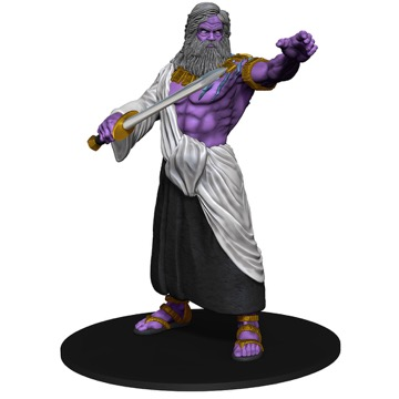 A gray-bearded, purple-skinned Storm Giant raises his left hand while gesturing with the sword in his right.