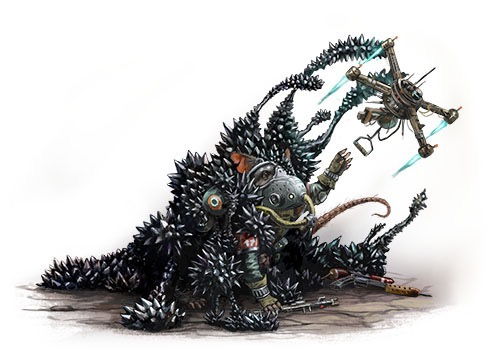 A black blob-like creature covefred with metallic spikes engulfs Quig, a ratfolk mechanic, as his drone attempts to pull him to safety.