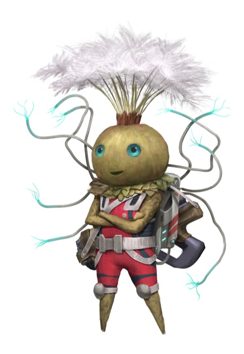 A plant-like humanoid with a gourd-shaped head topped by growths that look like dandelion seeds.