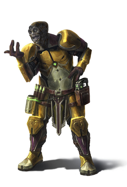 A smiling three-eyed, gray-skinned humanoid raises his right hand in a gesture of friendship.