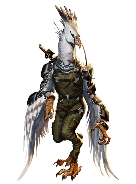 A tall, white-feathered bird-like humanoid with a sheathed sword on its back.