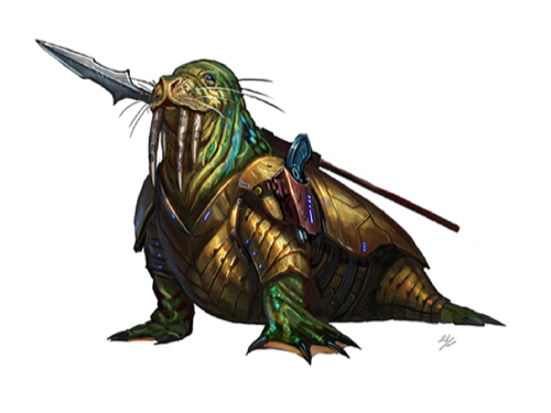 A walrus-like creature with four tusks and scintillating multicolored skin.