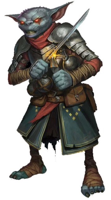 A hobgoblin alchemist clutching a sharp blade in one hand and a bomb with a lit fuse in the other.