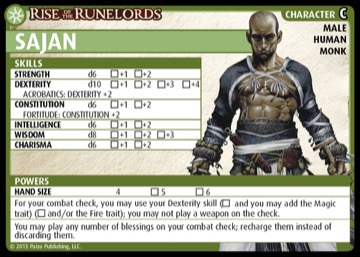 Rise of the Runelords: Sajan, Character C, Male Human Monk.