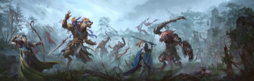 An armored knight with a sword and shield and a half-elf with a long bow battle four ferocious gnolls, while a masked humanoid frees captives from a wooden cage in the background.