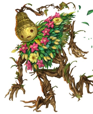 A humanoid with tree-branch limbs, a mantle of leaves and flowers across its shoulders, and a decoratively carved gourd in place of its head.
