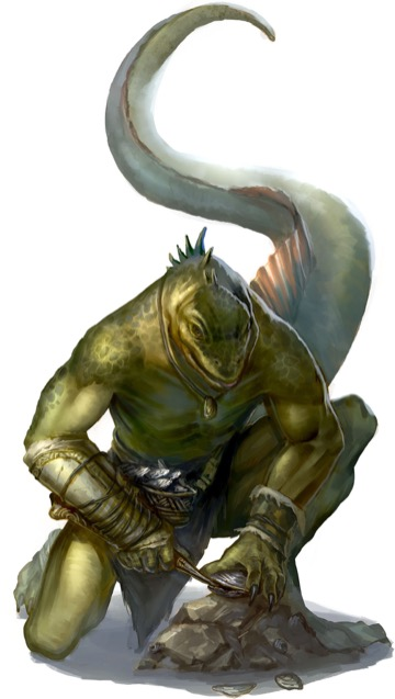 A crouching green lizardfolk with a huge, muscular tail uses a crude knife to open a clam.