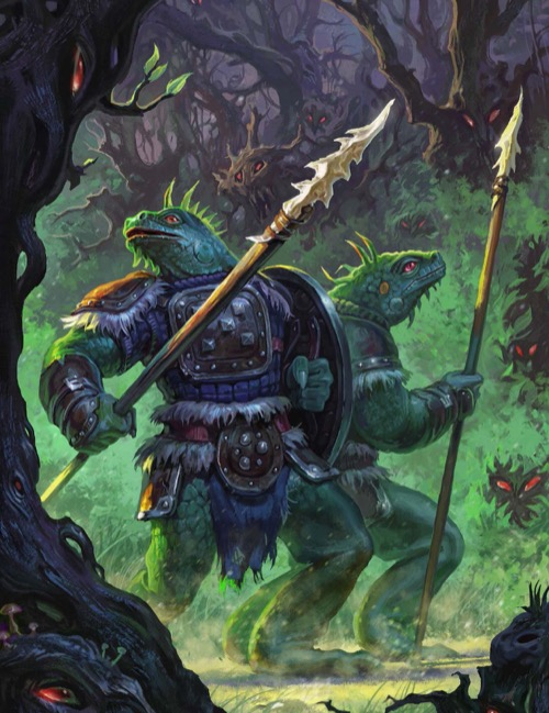 A pair of spear-wielding lizardfolk druids move cautiously through a sinister-looking forest, observed by pairs of glowing red eyes in every bush and tree.