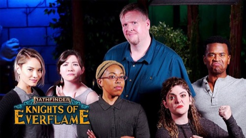 Left to right: Erika Fermina, Rachel Seeley, Aki, Jason Bulmahn, Gina DeVivo, and Jeremy Steven Walker