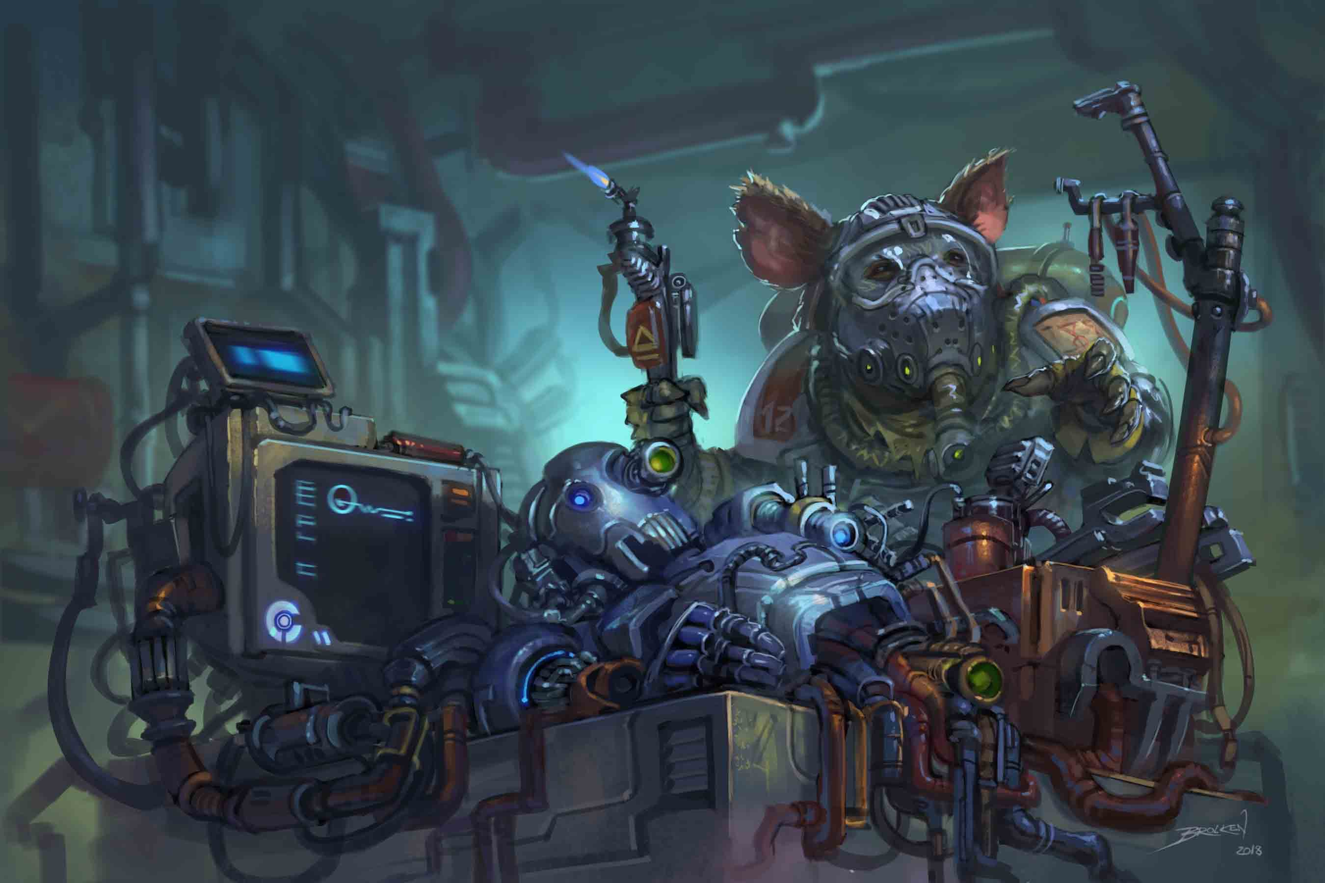 Quig, the iconic ysoki mechanic, holds a plasma cutter over the remains of a shattered humanoid robot.