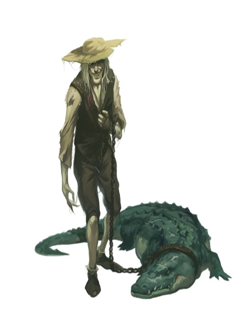 A grinning, sinister-looking human in ragged clothes and a wide-brimmed hat holds a chain attached to a collar around the neck of an enormous crocodile.