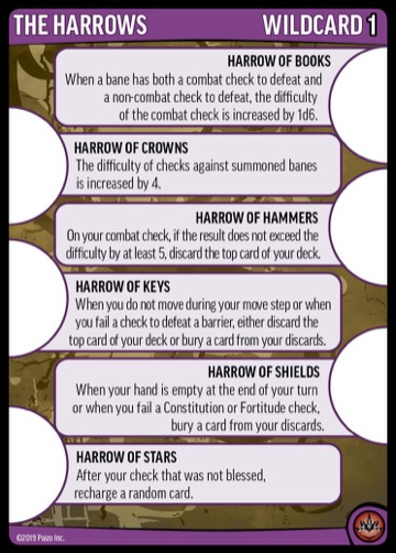 The Harrows, Wildcard 1; Harrow of Books, Harrow of Crowns, Harrow of Hammers, Harrow of Keys, Harrow of Shields, Harrow of Stars