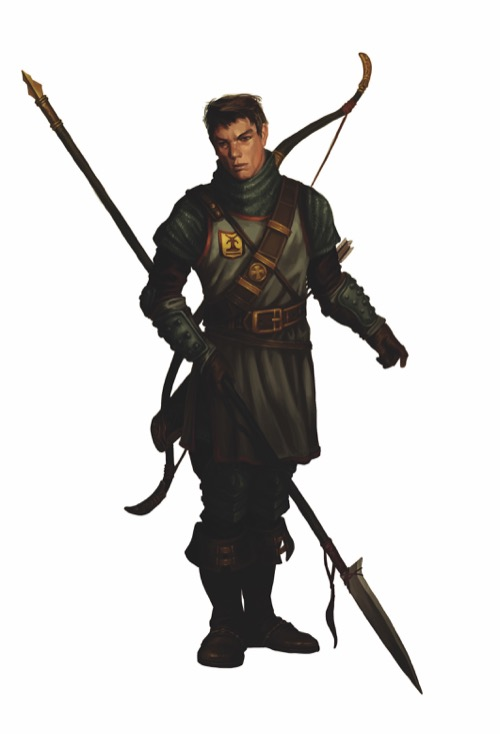Verik Vancaskerkin, a male human guardsman with a halberd in one hand and a longbow slung across his back.