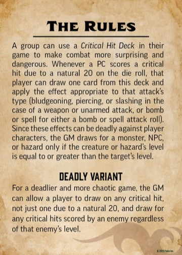 Pathfinder Critical Hit Deck: The Rules