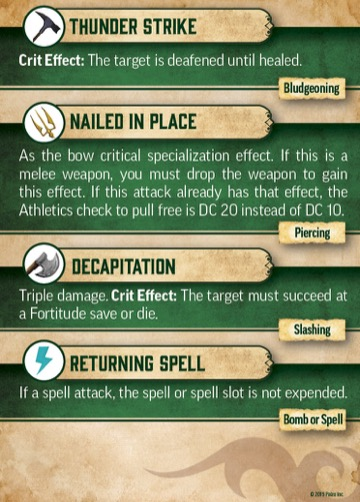 Pathfinder Critical Hit Deck: Thunder Strike, Nailed In Place, Decapitation, Returning Spell