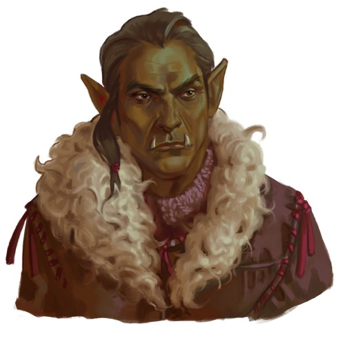 A half-orc druid in a heavy leather coat.