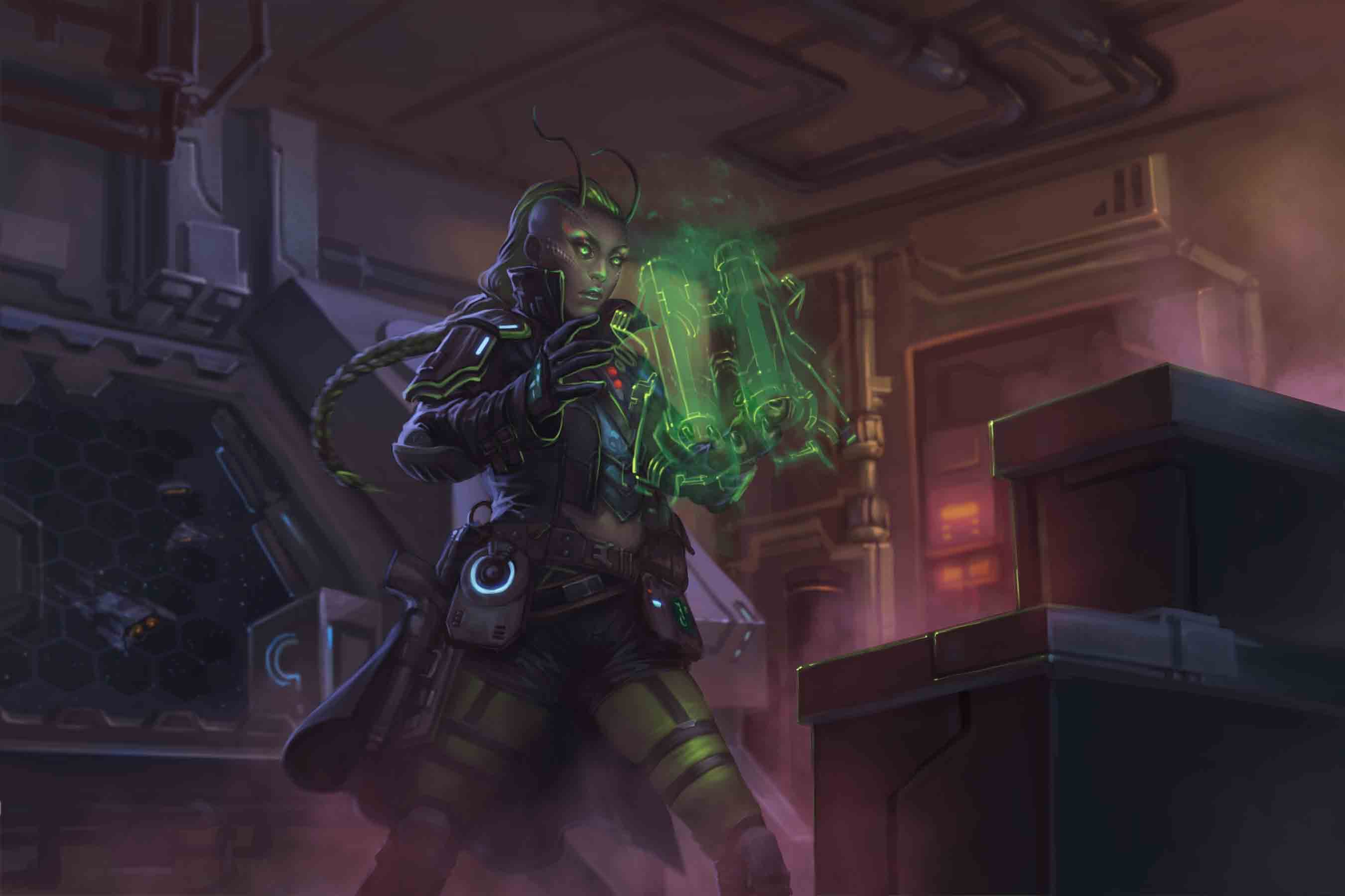 Raia, the iconic lashunta technomancer, concentrates as she focuses her power to sculpt a glowing green jetpack from magical force.