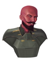 A smiling bald red-skinned humanoid with a pointed goatee and mustache.