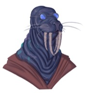 A morlamaw, a blue-skinned walrus-like alien, wearing circular wire-rimmed glasses.