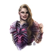 A grinning young woman with long blonde hair, orante purple armor and intricate tattoos pumps her fist triumphantly.