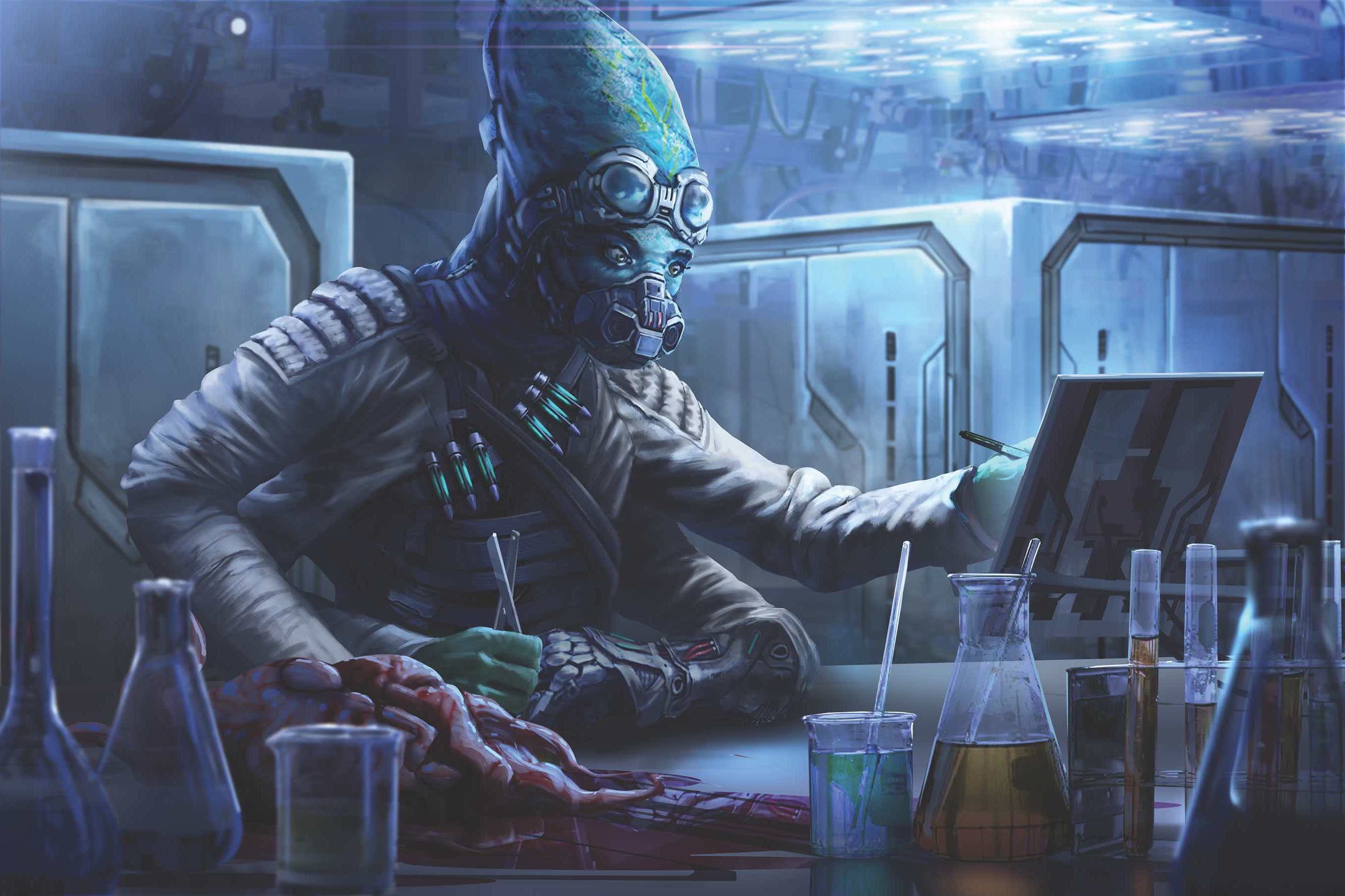 Barsala, the iconic kasatha biohacker, jots down notes on a tablet with one hand while the other holds a pair of surgical scissors near a bloody mass of tentacles sitting atop her lab table.