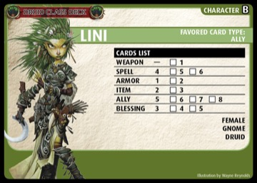 Druid Class Deck: Lini, Character B, Favored Card Type: Ally.
