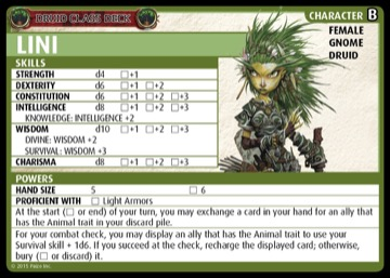 Druid Class Deck: Lini, Character B, Female Gnome Druid.