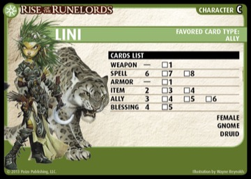 Rise of the Runelords: Lini, Character C, Favored Card Type: Ally.