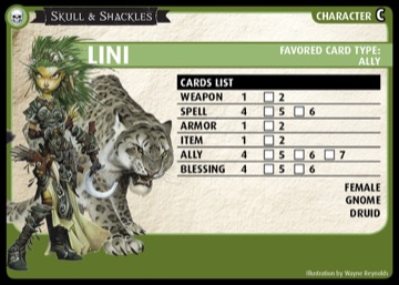 Skull & Shackles: Lini, Character C, Favored Card Type: Ally.