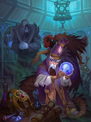 Balazar, the iconic summoner, stands in a room cluttered with treasures and curios, peering into a crystal ball as a robed and hooded shopkeeper looms in the background.