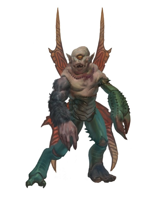 A stitched-together monstrosity with the head of a cyclops, insectoid wings, and the arms and legs of a giant ape and some sort of crab-like creature.