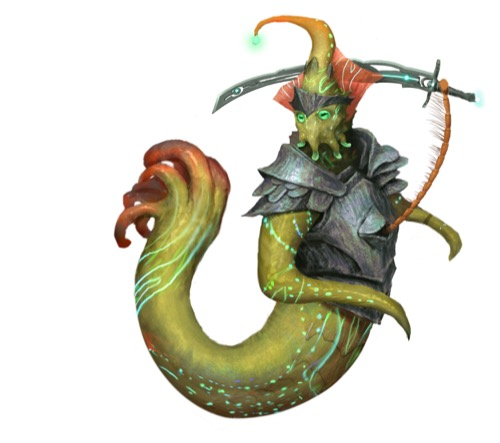 A cephalume, a green alien wih numerous tentacles sprouting from its tail and head, wields an ornate sword with a thin insect-like appendage sprouting from its chest.