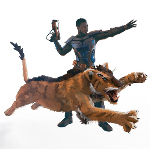 An armored human branding a pistol directs his companion, an orange tiger-like creature with two pairs of eyes.